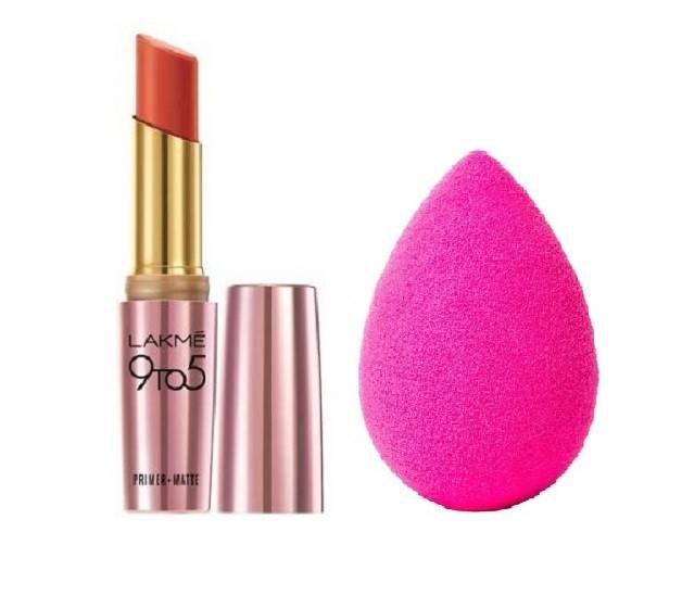 Lakme 9 to 5 Primer Plus Matte Lip Color (Brick Blush) with Beauty Blender (2 Items in the set)