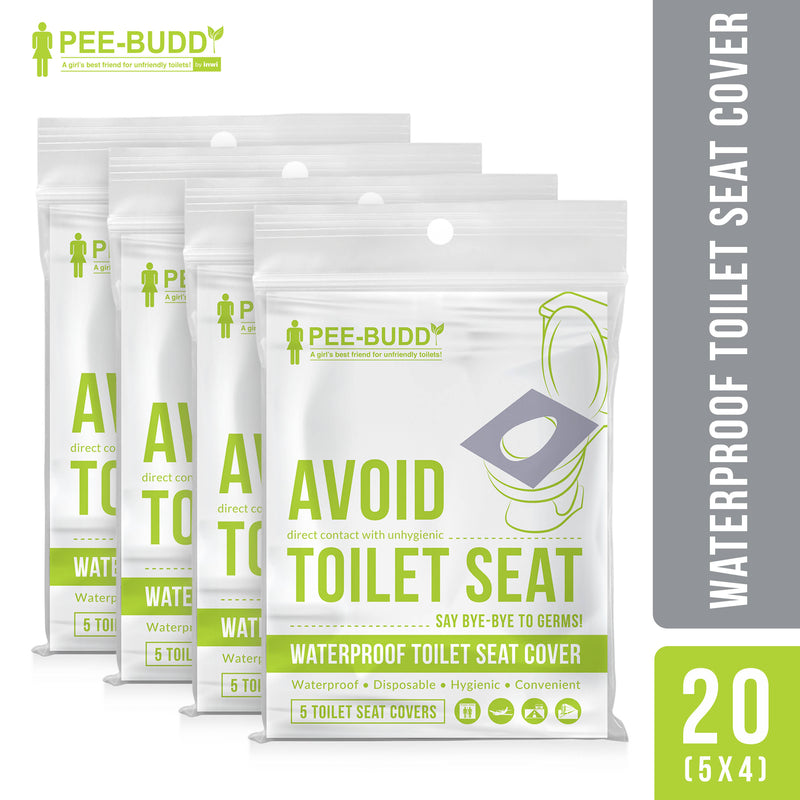 PeeBuddy - Waterproof Toilet Seat Cover - 20 Toilet Sheets (4 Pack - 5 Sheets Each)