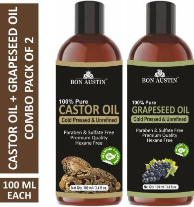 Bon Austin 100% Pure & Natural Castor Oil &Grapeseed Oil Combo pack of 2 bottles of 100 ml(200 ml) Hair Oil (200 ml)