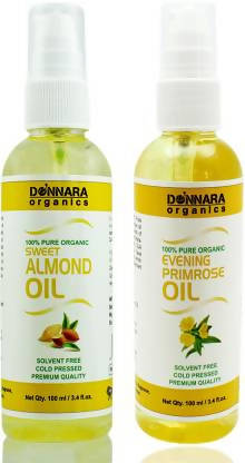 Donnara Organics 100% Pure Evening Primrose oil and Sweet Almond oil Combo of 2 Bottles of 100 ml(200 ml) Hair Oil (200 ml)