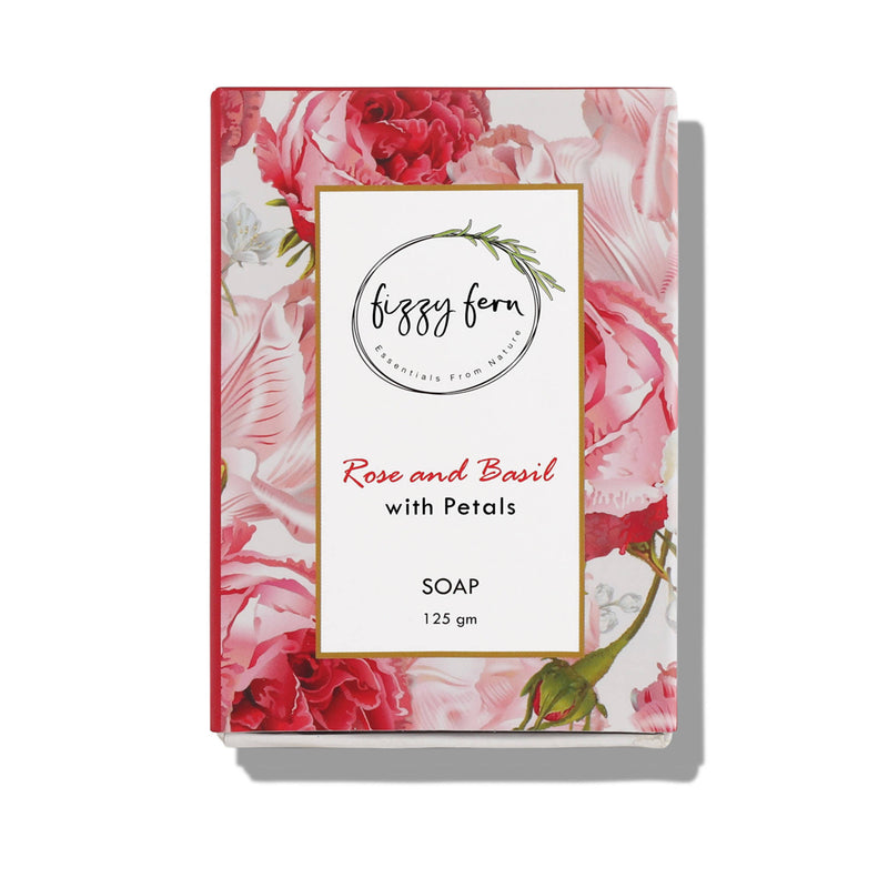 Fizzy Fern Handmade Soap- Rose & Basil with Dried Rose Petals