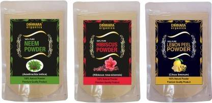 Donnara Organics Neem Powder, Shikakai Powder & Hibiscus Powder (450 g)