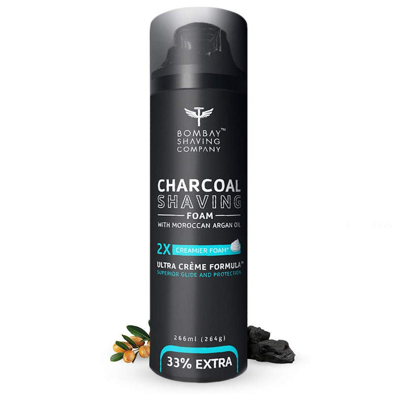 Bombay Shaving Company Charcoal Shaving Foam, 266 ml (33% extra) with Activated Charcoal & Moroccan Argan Oil