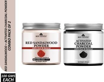 Bon Austin 100% Pure & Natural Red Sandalwood Powder & Activated Charcoal Powder Combo Pack of 2 Jars of 100 gms(200 gms) (200 g)