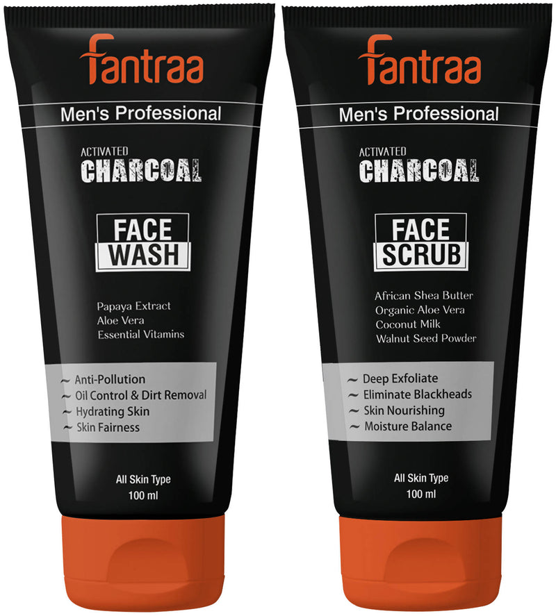 Fantraa Activated Charcoal Face Wash and Scrub Combo