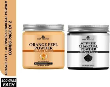 Bon Austin 100% Pure & Natural Orange Peel Powder & Activated Charcoal Powder Combo Pack of 2 Jars of 100 gms(200 gms) (200 g)