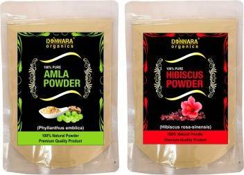 Donnara Organics 100% Pure & Natural Amla Powder and Hibiscus powder Combo pack of 2 of 150 gms(300 gms) (300 g)