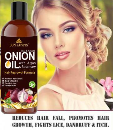 Bon Austin Premium ONION Herbal oil- For Hair Anti hair fall Enriched with Moroccan Argan oil and Rosemary oil(100 ml) Hair Oil (100 ml)