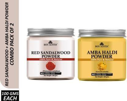 Bon Austin 100% Pure & Natural Red Sandalwood Powder & Amba haldi Powder Combo Pack of 2 Jars of 100 gms(200 gms) (200 g)