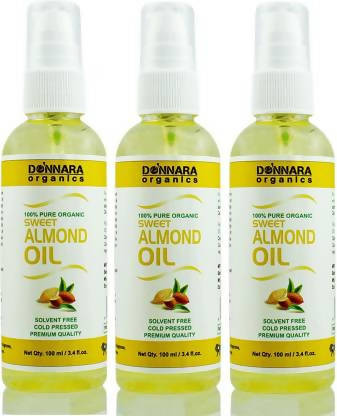 Donnara Organics Premium Sweet Almond oil- 100% Pure & Natural Combo pack of 3 bottles of 100 ml(300 ml) Hair Oil (300 ml)