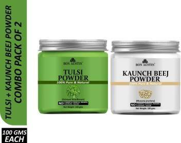 Bon Austin 100% Pure & Natural Tulsi Powder & Kaunch Beej Powder Combo Pack of 2 Jars of 100 gms(200 gms) (200 g)