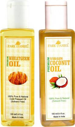 Park Daniel Organic Wheatgerm oil and Virgin Coconut oil combo pack of 2 bottles of 100 ml(200 ml) Hair Oil (200 ml)