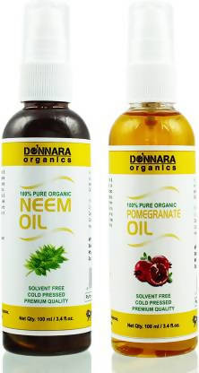 Donnara Organics 100% Pure Neem oil and Pomegranate oil Combo of 2 Bottles of 100 ml(200 ml) Hair Oil (200 ml)