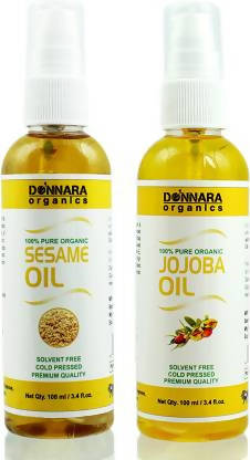Donnara Organics 100% Pure Sesame oil and Jojoba oil Combo of 2 Bottles of 100 ml(200 ml) Hair Oil (200 ml)