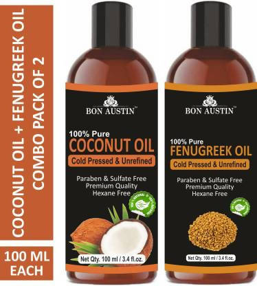 Bon Austin 100% Pure & Natural Coconut Oil & Fenugreek Oil Combo pack of 2 bottles of 100 ml(200 ml) Hair Oil (200 ml)