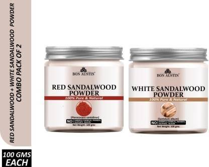 Bon Austin 100% Pure & Natural Red Sandalwood Powder & White Sandalwood Powder Combo Pack of 2 Jars of 100 gms(200 gms) (200 g)