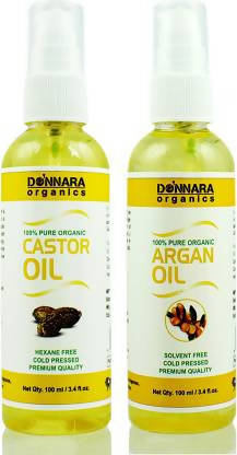 Donnara Organics 100% Pure Castor oil and Argan oil Combo of 2 Bottles of 100 ml(200 ml) Hair Oil (200 ml)