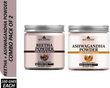 Bon Austin 100% Pure & Natural Reetha Powder & Ashwagandha Powder Combo Pack of 2 Jars of 100 gms(200 gms) (200 g)