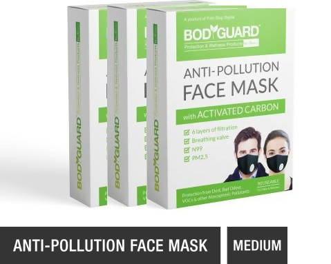 BodyGuard Reusable Anti Pollution Face Mask with Activated Carbon, N99 + PM2.5 for Men and Women - Medium - Pack of 3