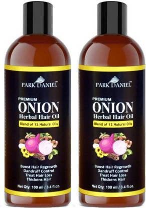 Park Daniel Premium ONION Herbal Hair oil- For Hair Regrowth, Anti Dandruff, Treat hair loss and Thickens hairs pack of two bottles of 100 ml(200 ml) Hair Oil (200 ml)