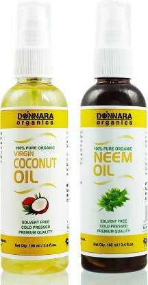 Donnara Organics 100% Pure Coconut oil and Neem oil Combo of 2 Bottles of 100 ml(200 ml) Hair Oil (200 ml)
