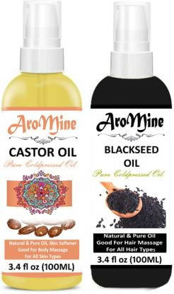 AroMine 100% Organic Castor Oil Pure & Natural And Black Seed Oil Kalonji Oil For Hair Fall & Hair Growth, Hair Treatment Oil for Healthy Hairs and Skin Hair Oil -(100ml) -Pack of-2-Bottle-(200ml) Hair Oil (200 ml)