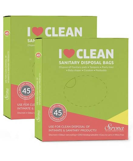 Sanitary & Diapers Disposal Bag by Sirona 90 Bags (2 Pack - 45 Bags Each)
