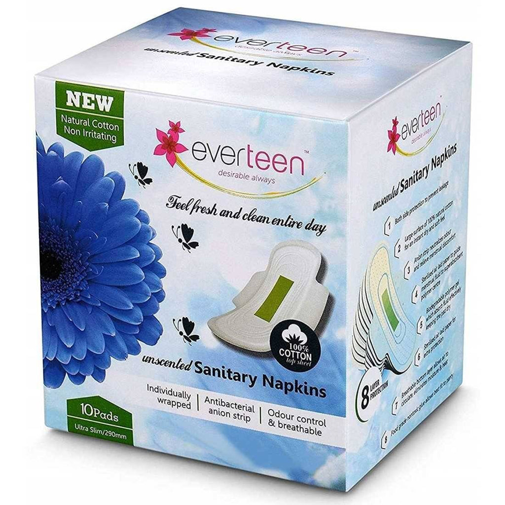 Everteen 100% Cotton Top XL Sanitary Napkin Pads for Periods in Women(10N)