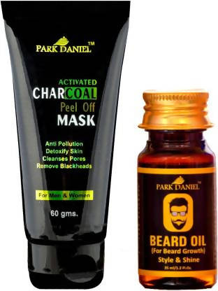 Park Daniel Activated Charcoal Peel off Mask & Beard growth oil Combo pack of 2(95 gms) (2 Items in the set)
