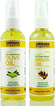 Donnara Organics 100% Pure Olive oil and Argan oil Combo of 2 Bottles of 100 ml(200 ml) Hair Oil (200 ml)