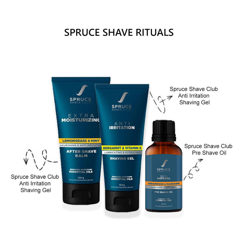 Spruce Shave Rituals - Combo of Pre Shave Oil, Shaving Gel & After Shave Balm