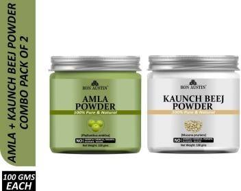 Bon Austin 100% Pure & Natural Kaunch Beej Powder & Amba haldi Powder Combo Pack of 2 Jars of 100 gms(200 gms) (200 g)