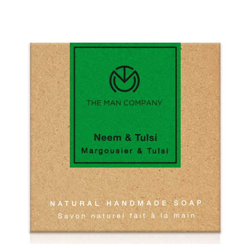 The Man Company Anti-Acne Neem & Tulsi Face And Body Exfoliating Soap, 125 Gm