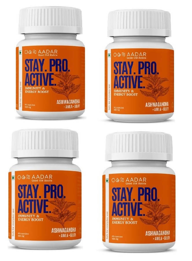 AADAR STAY PRO ACTIVE | Energy and Immunity Booster for Men and Women| Pure Ashwagandha and Raw Shilajit | Pack of 4
