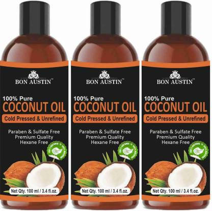 Bon Austin Premium Coconut oil - Cold Pressed & Unrefined Combo pack of 3 bottles of 100 ml (300 ml) (300 ml)