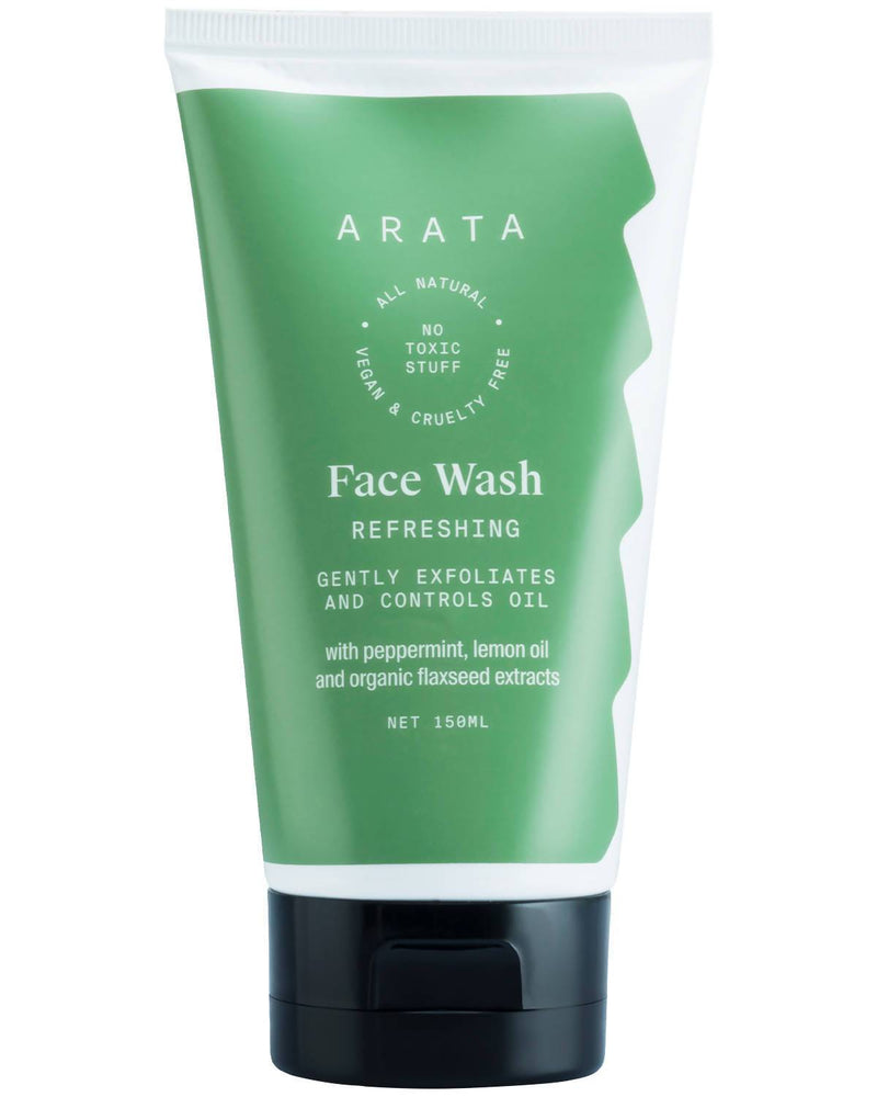 Arata Natural Refreshing Face Wash With Peppermint, Lemon oil & Organic Flaxseed | All-Natural, Vegan & Cruelty-Free | Gently Exfoliates & Controls Oil For Men & Women - (150 ML) - Trell Shop