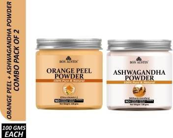 Bon Austin 100% Pure & Natural Orange Peel Powder & Ashwagandha Powder Combo Pack of 2 Jars of 100 gms(200 gms) (200 g)