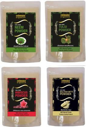 Donnara Organics Neem Powder,Tulsi Powder, Hibiscus powder & Multani Mitti powder (600 g)