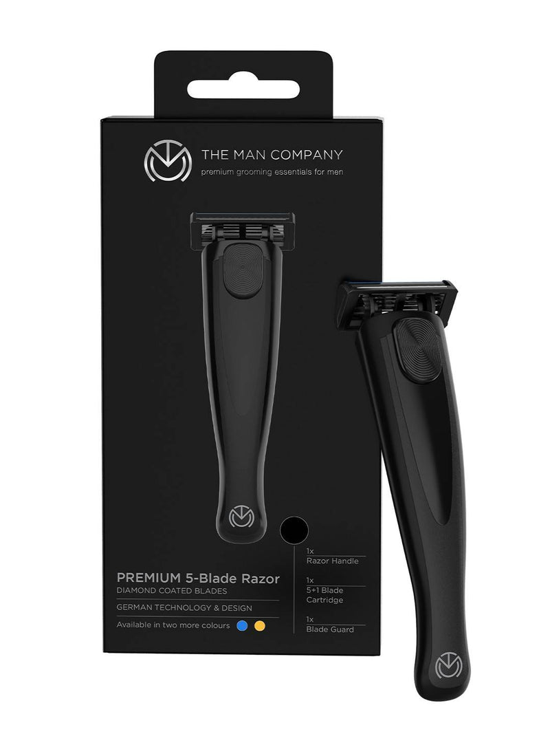 The Man Company Premium 5 Blade Razor for Men with Diamond Coated blades- Jet Black