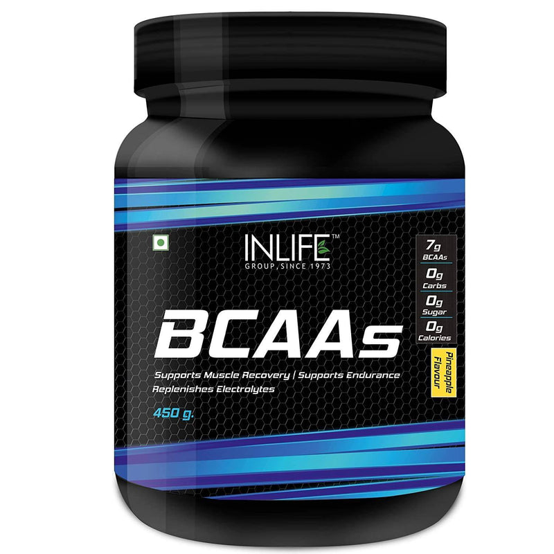 Inlife BCAA Branched Chain Amino Acids 7 G With L-Glutamine, Citrulline Malate Nutrition - 450 Grams (Pineapple)