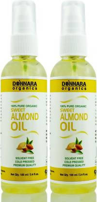 Donnara Organics Premium Sweet Almond oil- 100% Pure & Natural Combo pack of 2 bottles of 100 ml(200 ml) Hair Oil (200 ml)