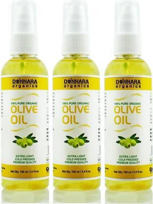 Donnara Organics Premium Extra Light Olive oil- 100% Pure & Natural Combo pack of 3 bottles of 100 ml(300 ml) Hair Oil (300 ml)