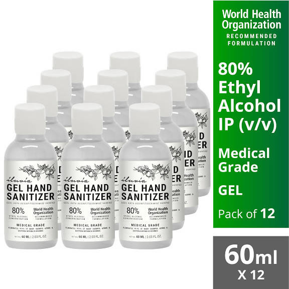 Iluvia Professional WHO Recommended 80% Ethyl Alcohol Gel Sanitizer Multipack (12 X 60ml)