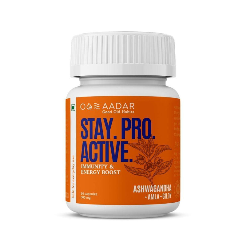AADAR STAY PRO ACTIVE | Energy and Immunity Booster for Men and Women| Pure Ashwagandha and Raw Shilajit | 60Capsules