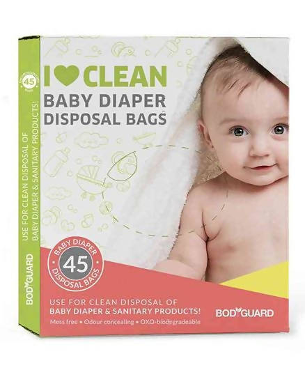 BodyGuard - Baby Diapers & Sanitary Disposal Bag - 90 Bags (2 Pack - 45 Bags Each)