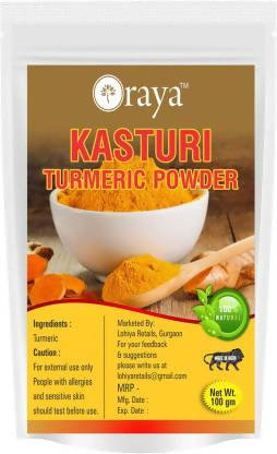 Oraya Kasturi Turmeric ( Haldi) Powder for Face Pure Organic for Skin Whitening- (100 g)