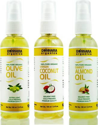 Donnara Organics Premium Olive oil, Coconut oil & Sweet Almond oil Combo pack of 3 bottles of 100ml(300 ml) Hair Oil (300 ml)