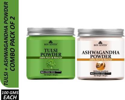 Bon Austin 100% Pure & Natural Tulsi Powder & Ashwagandha Powder Combo Pack of 2 Jars of 100 gms(200 gms) (200 g)