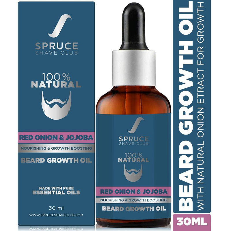 Spruce Shave Club Advanced Beard Growth Oil For Men | 100% Natural | Red Onion & Jojoba