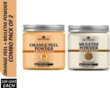 Bon Austin 100% Pure & Natural Orange Peel Powder & Mulethi Powder Combo Pack of 2 Jars of 100 gms(200 gms) (200 g)